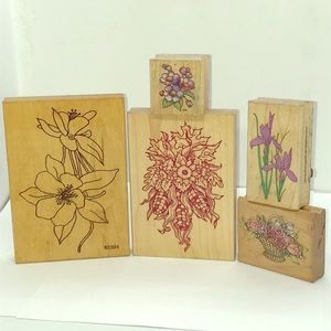 Bundle of 5 Rubber Stamps with Autumn Flowers